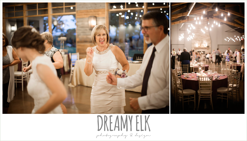guests at wedding reception, indoor wedding reception, purple and gold wedding, fall rainy wedding, canyonwood ridge, dripping springs, texas, photo {dreamy elk photography and design}