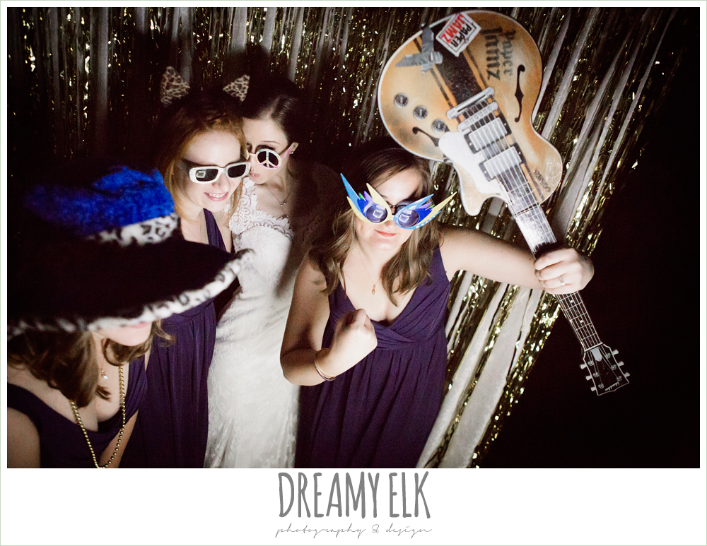 guests in photobooth at wedding reception, indoor wedding reception, purple and gold wedding, fall rainy wedding, canyonwood ridge, dripping springs, texas, photo {dreamy elk photography and design}