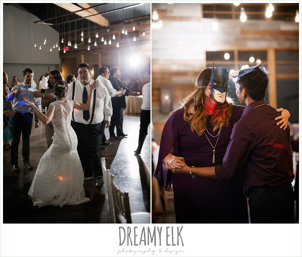 guests dancing at wedding reception, indoor wedding reception, purple and gold wedding, fall rainy wedding, canyonwood ridge, dripping springs, texas, photo {dreamy elk photography and design}