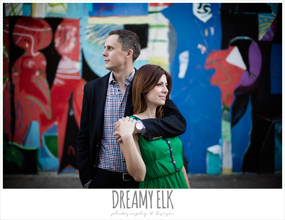 downtown austin texas engagement photo, colorful, graffiti, urban engagement photo {dreamy elk photography and design}