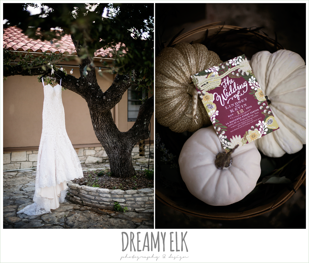 minted wedding invitation, ventura's bridal fashions, sweetheart lace strapless fit and flare wedding dress, wedding dress hanging on hangar in tree, maroon and gold fall wedding invitation, fall wedding photo, la hacienda, dripping springs, texas {dreamy elk photography and design}