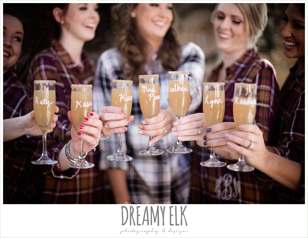 matching bridesmaid flannel monogram shirt, wedding day mimosa, champagne glass, fall wedding photo, la hacienda, dripping springs, texas {dreamy elk photography and design}