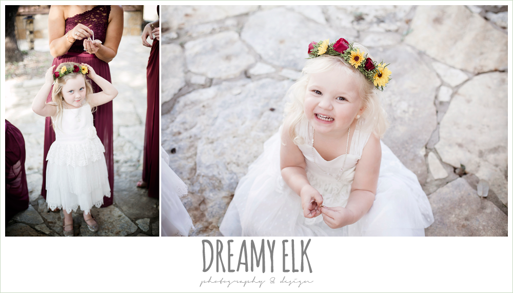 wild bunches floral, flower girls with floral head wreaths, maroon and gold fall wedding photo, la hacienda, dripping springs, texas {dreamy elk photography and design}