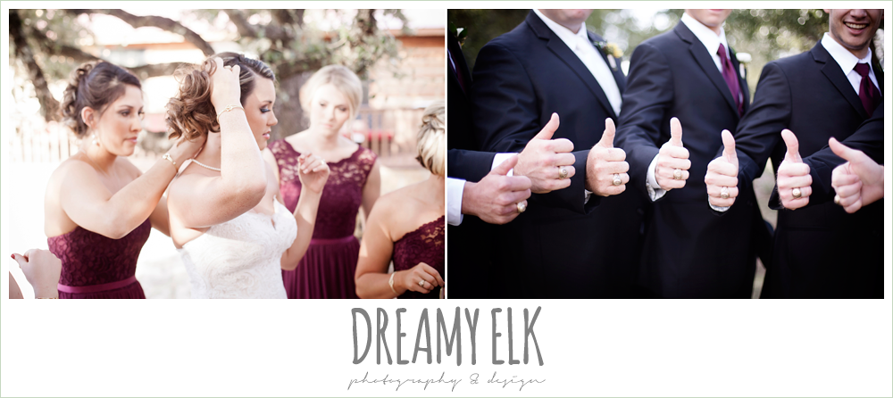 men's wearhouse, bride getting dressed, putting on jewelry, groom and groomsmen, gig 'em, thumbs up, maroon and gold fall wedding photo, la hacienda, dripping springs, texas {dreamy elk photography and design}