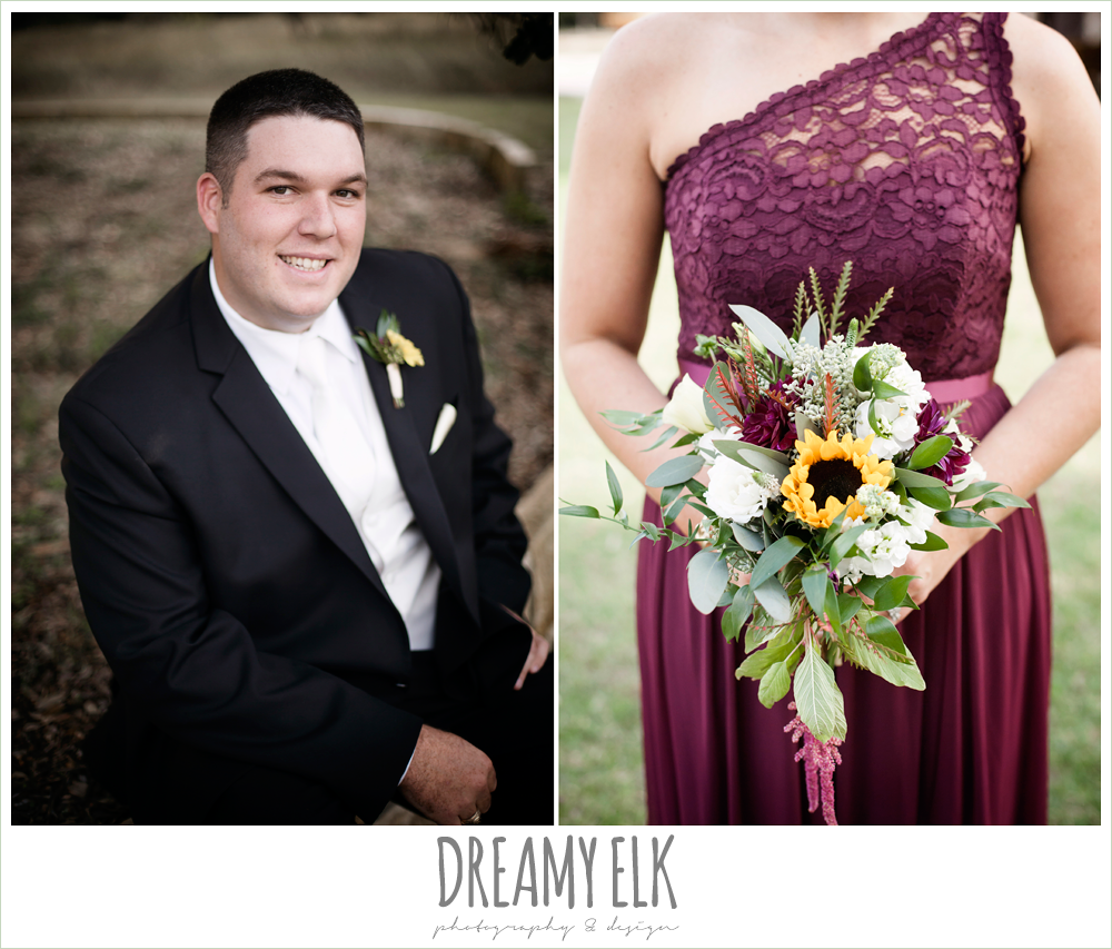 mix and match maroon long chiffon bridesmaid dresses, david's bridal, men's wearhouse, wild bunches floral, groom in tux, maroon and gold fall wedding photo, la hacienda, dripping springs, texas {dreamy elk photography and design}