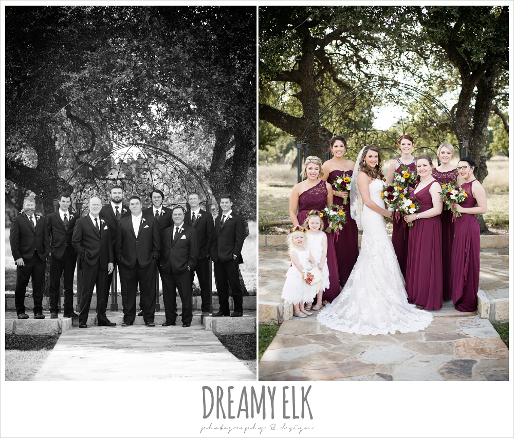 mix and match maroon long chiffon bridesmaid dresses, david's bridal, men's wearhouse, wild bunches floral, bride, bridesmaids, flower girls, groom, groomsmen, bridal party, maroon and gold fall wedding photo, la hacienda, dripping springs, texas {dreamy elk photography and design}