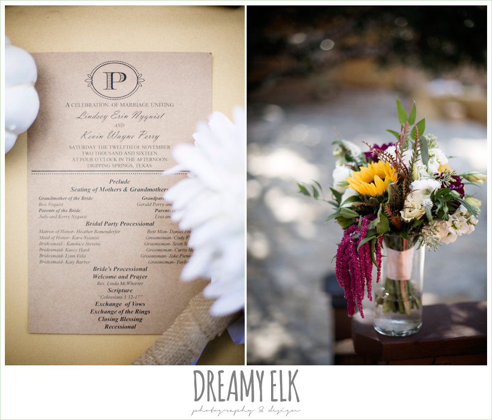 minted wedding program, wild bunches floral, craft paper wedding program, wedding bouquet, maroon and gold fall wedding photo, la hacienda, dripping springs, texas {dreamy elk photography and design}