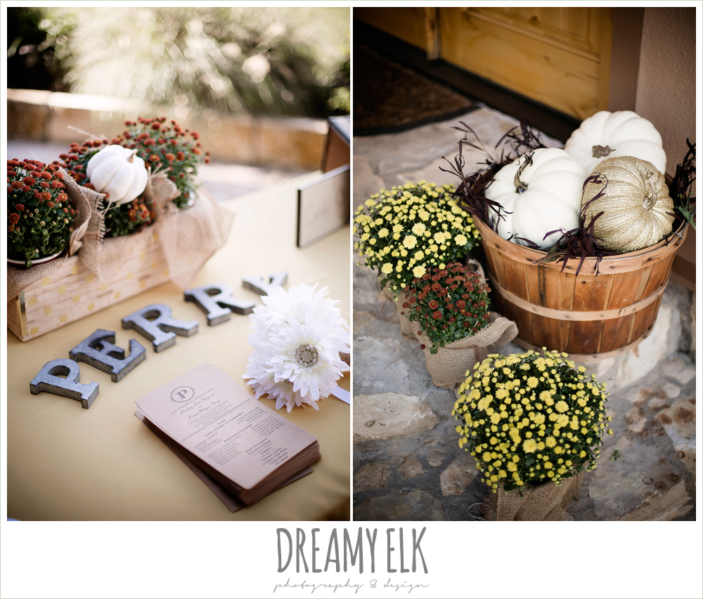fall ceremony decor with pumpkins, guest sign in table, maroon and gold fall wedding photo, la hacienda, dripping springs, texas {dreamy elk photography and design}