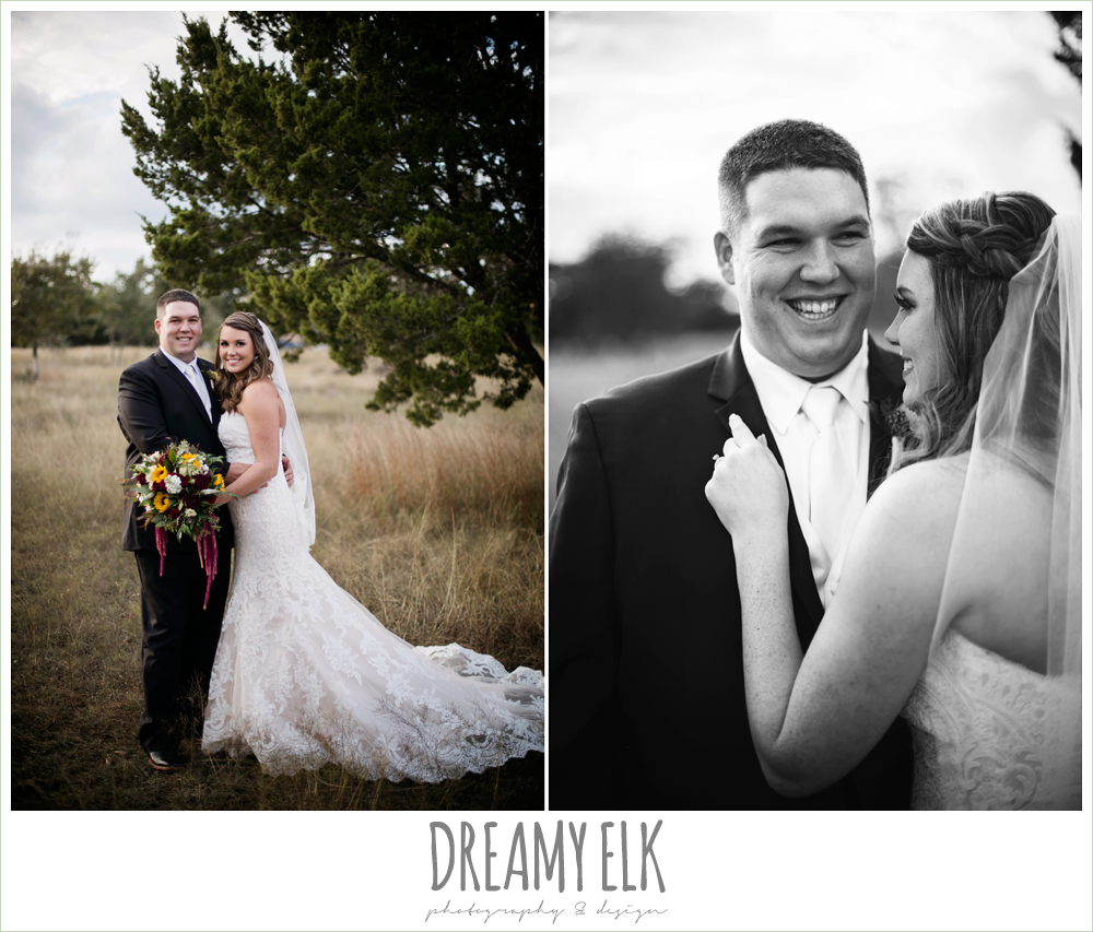 men's wearhouse, ventura's bridal fashions, sweetheart lace strapless fit and flare wedding dress, wild bunches floral, bride and groom portraits, maroon and gold fall wedding photo, la hacienda, dripping springs, texas {dreamy elk photography and design}