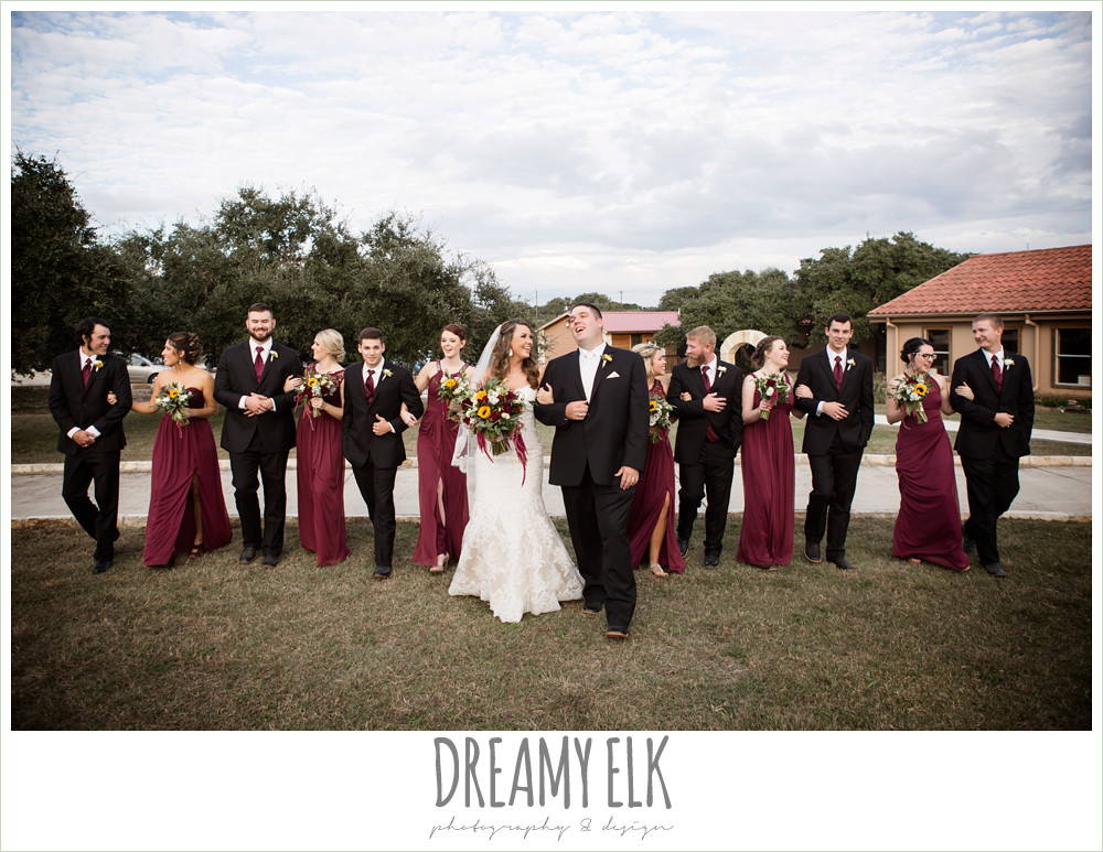 mix and match maroon long chiffon bridesmaid dresses, david's bridal, men's wearhouse, ventura's bridal fashions, sweetheart lace strapless fit and flare wedding dress, wild bunches floral, bridal party, maroon and gold fall wedding photo, la hacienda, dripping springs, texas {dreamy elk photography and design}