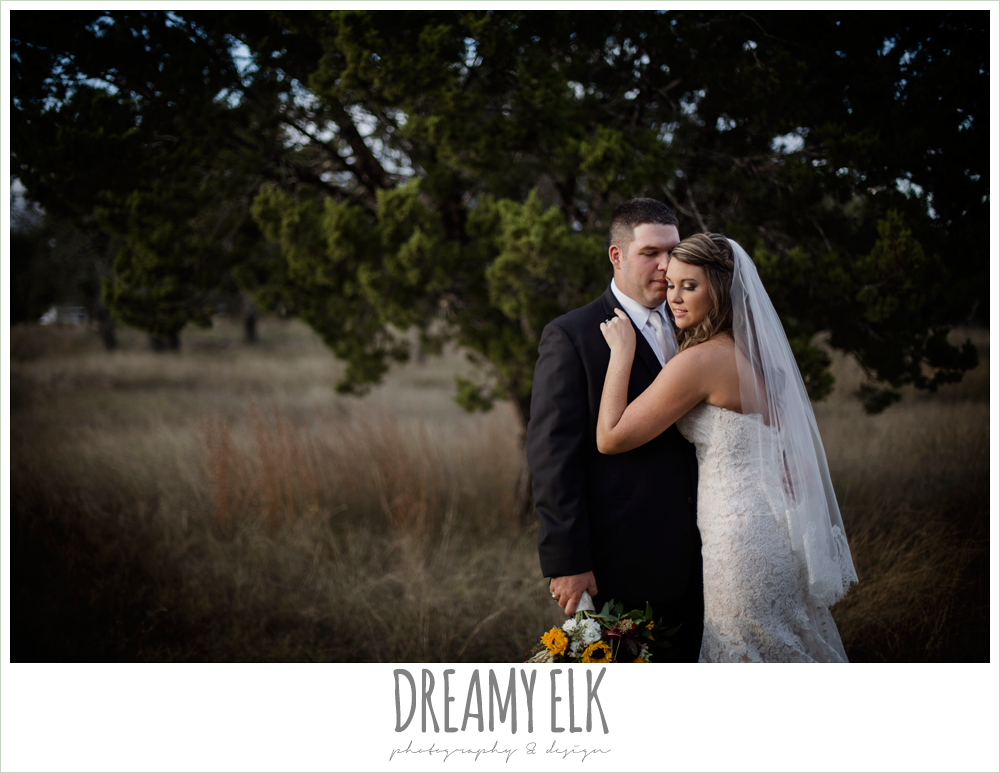 lustrebella, ventura's bridal fashions, sweetheart lace strapless fit and flare wedding dress, sunset bride and groom portraits, maroon and gold fall wedding photo, la hacienda, dripping springs, texas {dreamy elk photography and design}