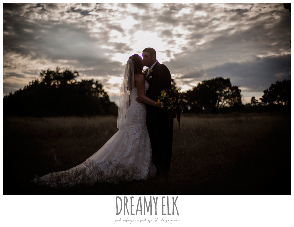 ventura's bridal fashions, sweetheart lace strapless fit and flare wedding dress, sunset bride and groom portraits, maroon and gold fall wedding photo, la hacienda, dripping springs, texas {dreamy elk photography and design}