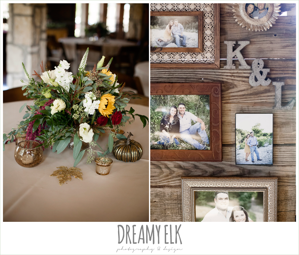 wild bunches floral, engagement photos framed at wedding reception, indoor wedding reception decor, table setting, table centerpiece, maroon and gold fall wedding photo, la hacienda, dripping springs, texas {dreamy elk photography and design}
