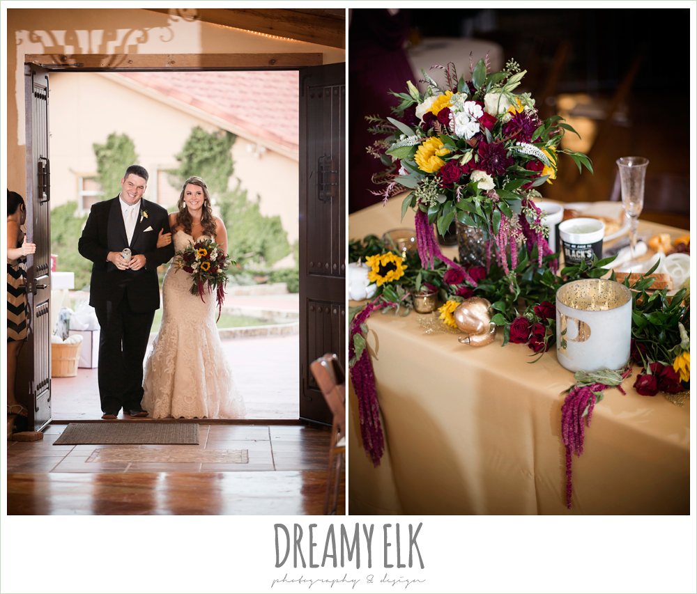 wild bunches floral, bride and groom reception entrance, indoor wedding reception decor, table setting, table centerpiece, maroon and gold fall wedding photo, la hacienda, dripping springs, texas {dreamy elk photography and design}