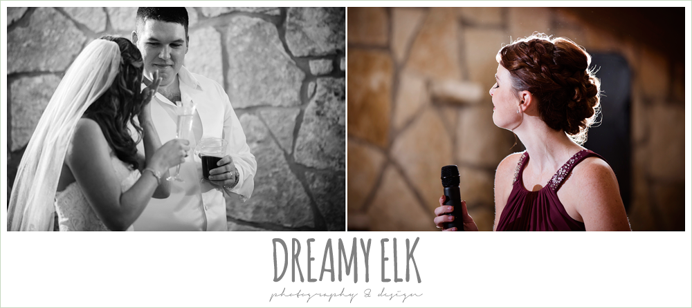bride and groom, bridesmaid crying while giving toast, indoor wedding reception, maroon and gold fall wedding photo, la hacienda, dripping springs, texas {dreamy elk photography and design}