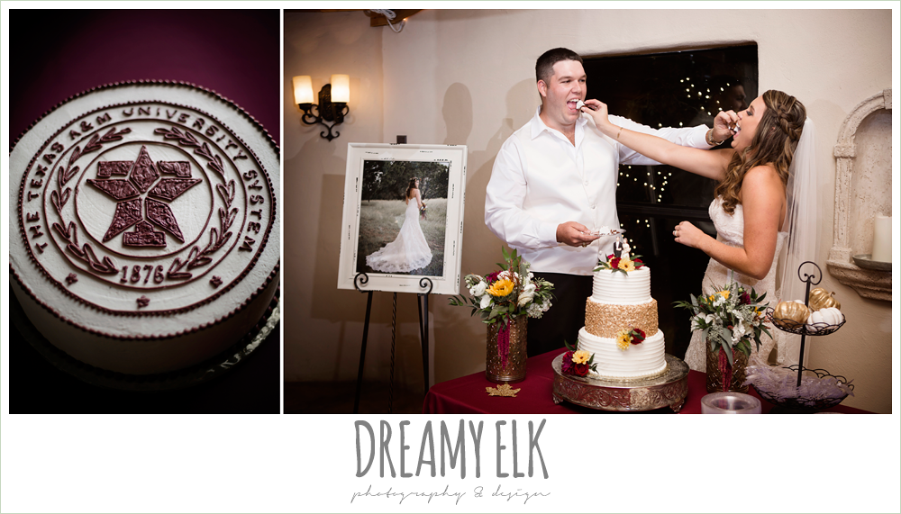 wild bunches floral, aggie grooms cake, bride and groom feeding each other cake, indoor wedding reception, maroon and gold fall wedding photo, la hacienda, dripping springs, texas {dreamy elk photography and design}