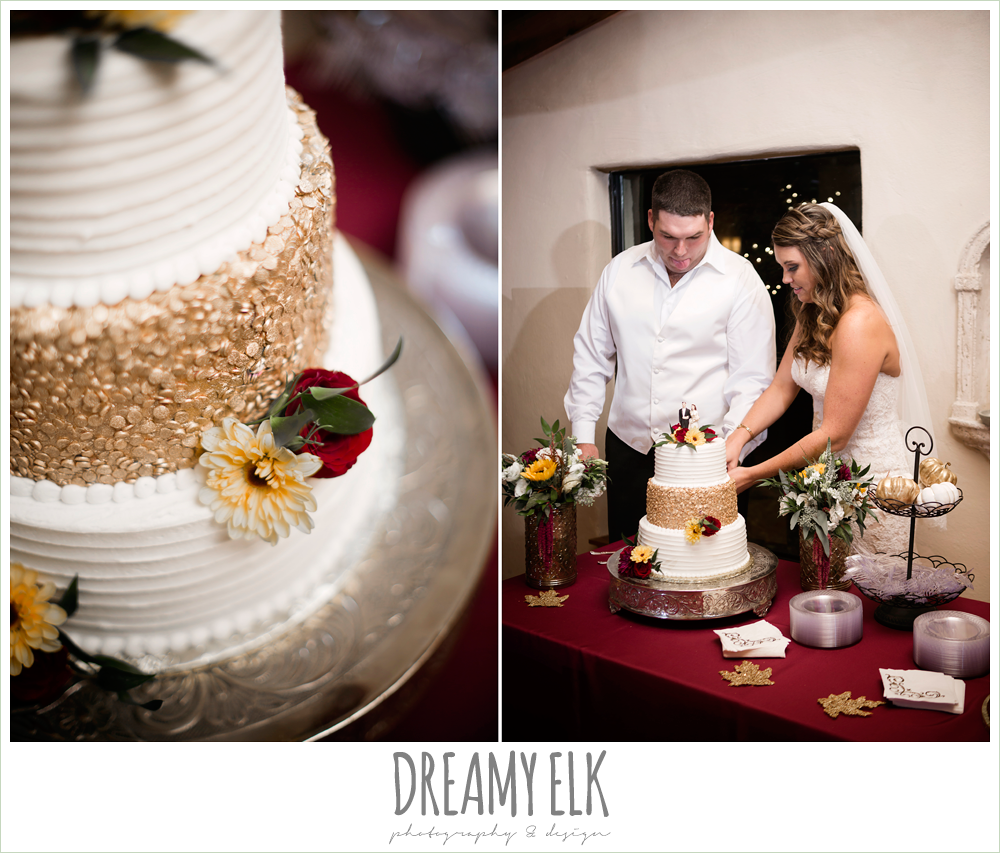 wild bunches floral, maroon and gold three tier wedding cake with floral topper, bride and groom cutting the cake, indoor wedding reception, maroon and gold fall wedding photo, la hacienda, dripping springs, texas {dreamy elk photography and design}