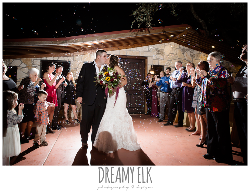 wild bunches floral, night bubble send off, wedding reception, maroon and gold fall wedding photo, la hacienda, dripping springs, texas {dreamy elk photography and design}