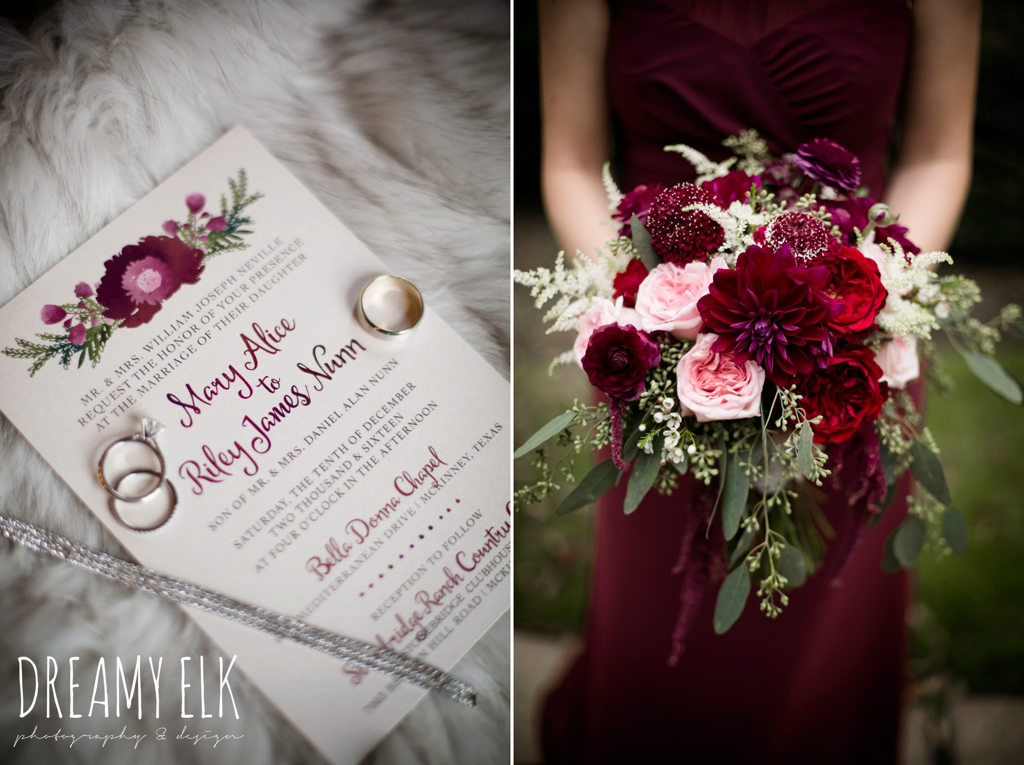 pink maroon winter wedding bouquet, platinum petals, mix and match long maroon alfred angelo bridesmaid dresses, wedding invitation, bridesmaid bouquet, maroon december winter wedding, bella donna chapel, mckinney, texas {dreamy elk photography and design}