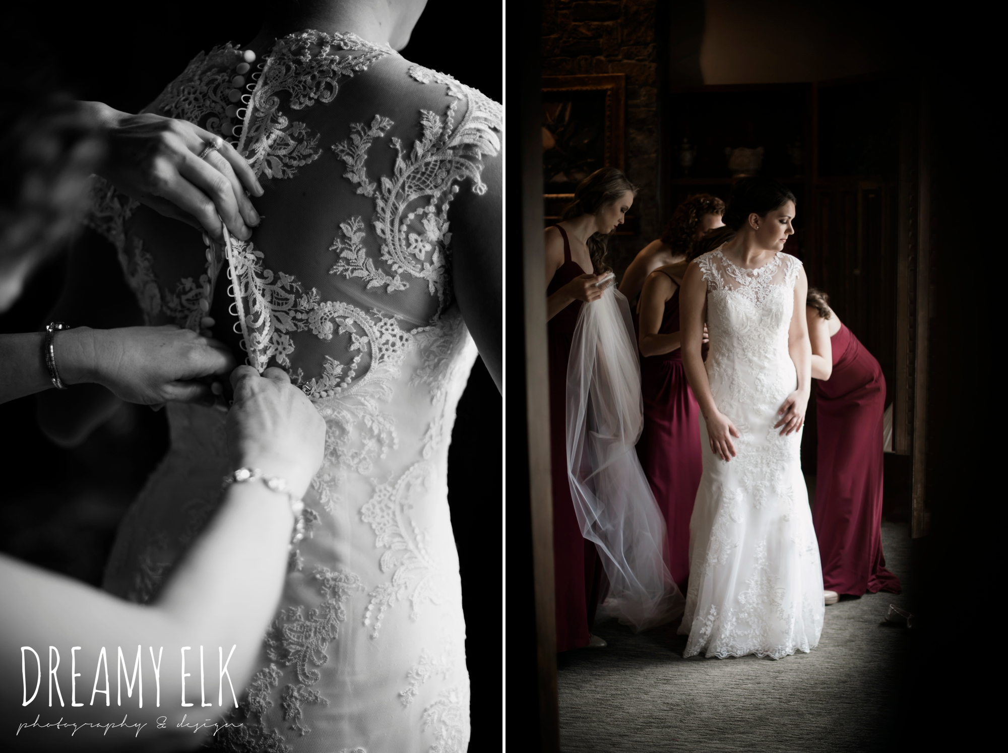 casa blanca illusion lace wedding dress with button from lulus bridal, bride getting dressed, maroon december winter wedding, bella donna chapel, mckinney, texas {dreamy elk photography and design}