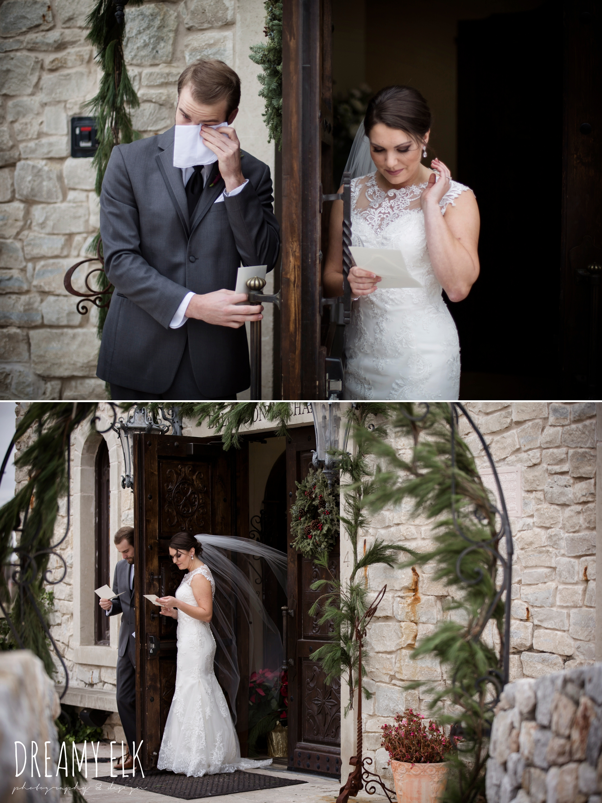 bride and groom holding hands around a door, groom men's wearhouse gray tux, bride, casa blanca illusion lace wedding dress with button from lulus bridal, maroon december winter wedding, bella donna chapel, mckinney, texas {dreamy elk photography and design}