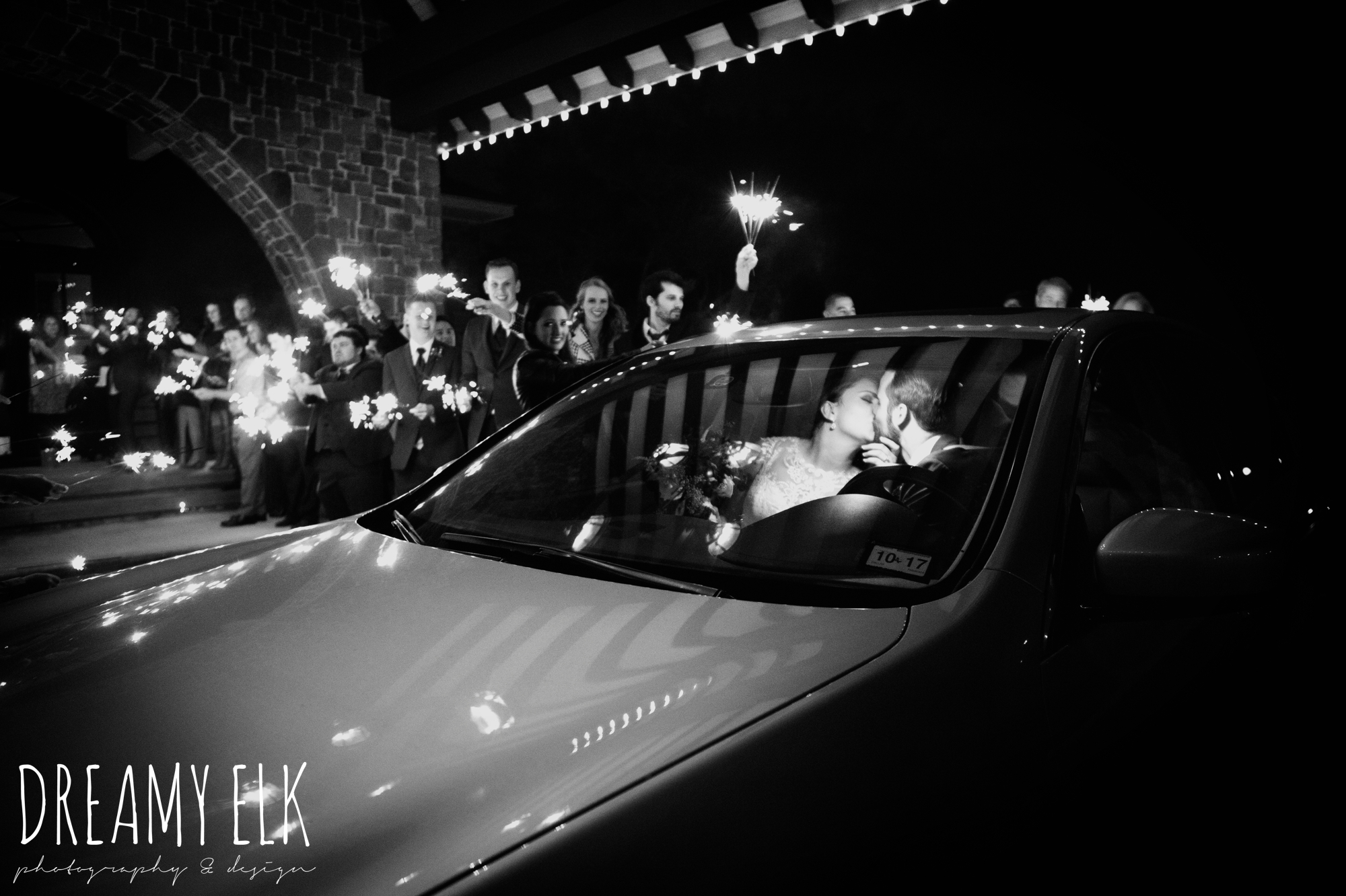 sparkler send off, bride and groom kissing, maroon december winter wedding, bella donna chapel, mckinney, texas {dreamy elk photography and design}