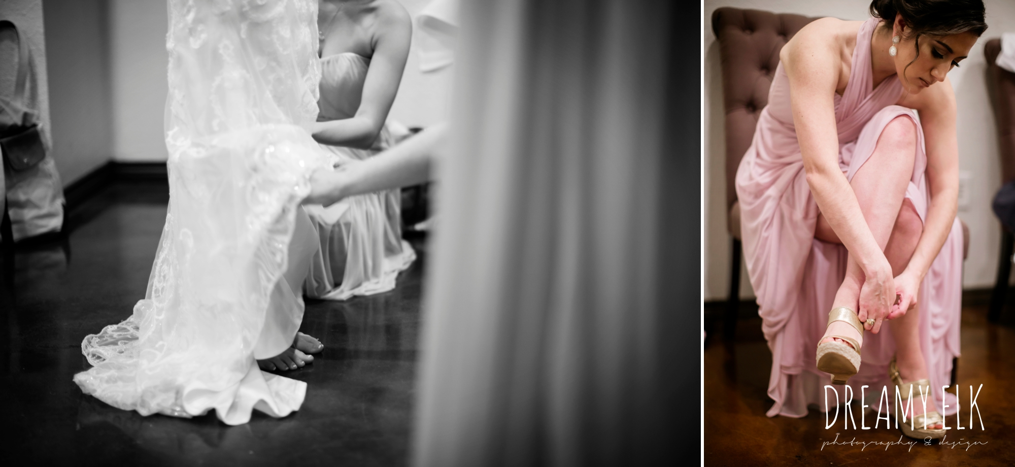 bride getting dressed, putting on shoes, cloudy march wedding photo, canyon springs golf club wedding, san antonio, texas {dreamy elk photography and design}