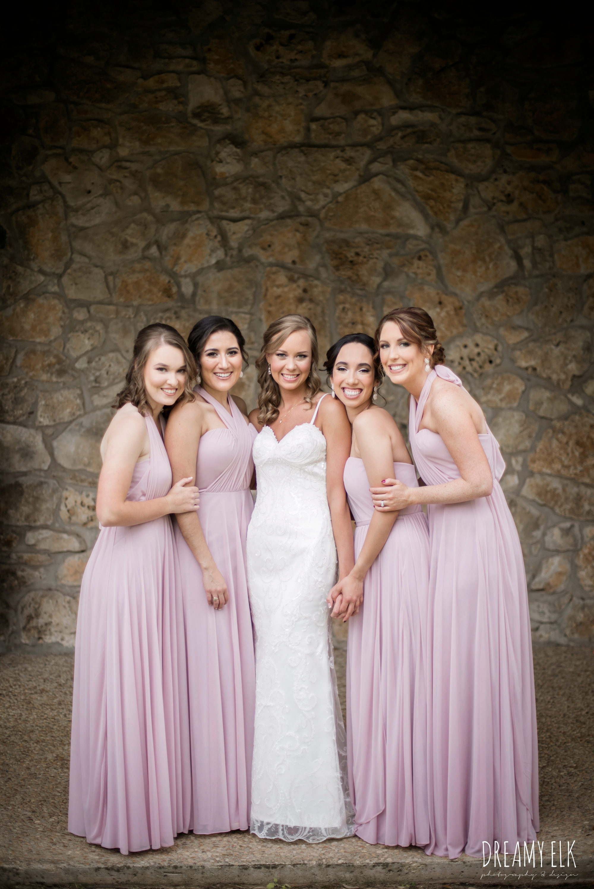 madame makeup and hair, bride and bridesmaids, mix and matched floor length blush bridesmaid dresses, backless column sheath wedding dress, cloudy march wedding photo, canyon springs golf club wedding, san antonio, texas {dreamy elk photography and design}