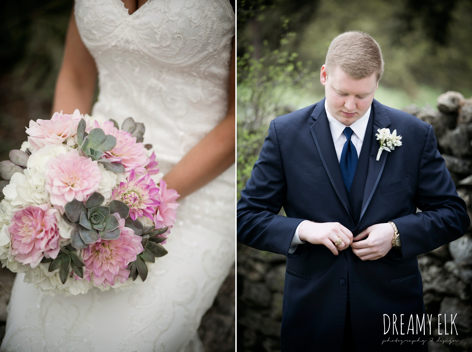 groom and groomsmen in navy suits, heb blooms, succulent and pink wedding bouquet, cloudy march wedding photo, canyon springs golf club wedding, san antonio, texas {dreamy elk photography and design}