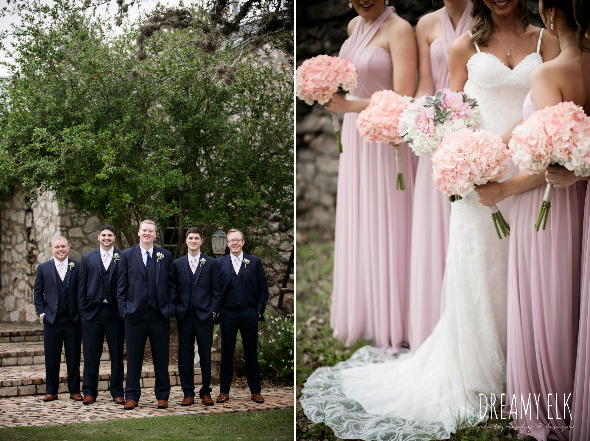 groom and groomsmen in navy suits, bride and bridesmaids, mix and matched floor length blush bridesmaid dresses, backless column sheath wedding dress, heb blooms, cloudy march wedding photo, canyon springs golf club wedding, san antonio, texas {dreamy elk photography and design}