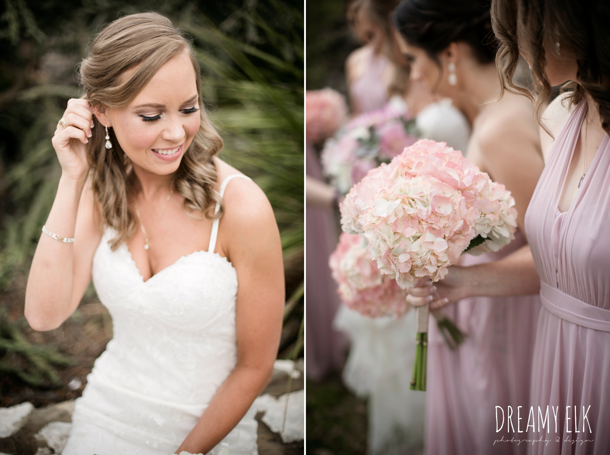 madame makeup and hair, bride and bridesmaids, mix and matched floor length blush bridesmaid dresses, backless column sheath wedding dress, heb blooms, cloudy march wedding photo, canyon springs golf club wedding, san antonio, texas {dreamy elk photography and design}