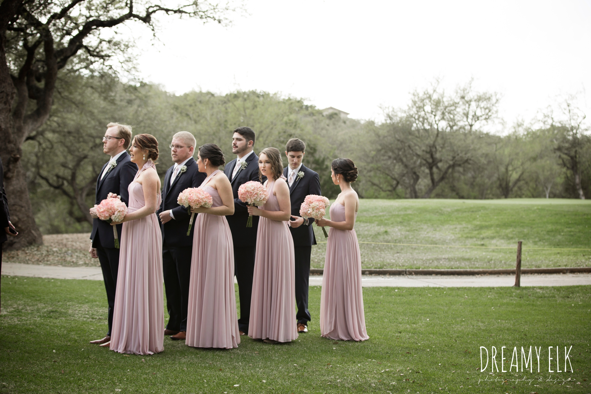 bride and bridesmaids, mix and matched floor length blush bridesmaid dresses, cloudy march wedding photo, canyon springs golf club wedding, san antonio, texas {dreamy elk photography and design}