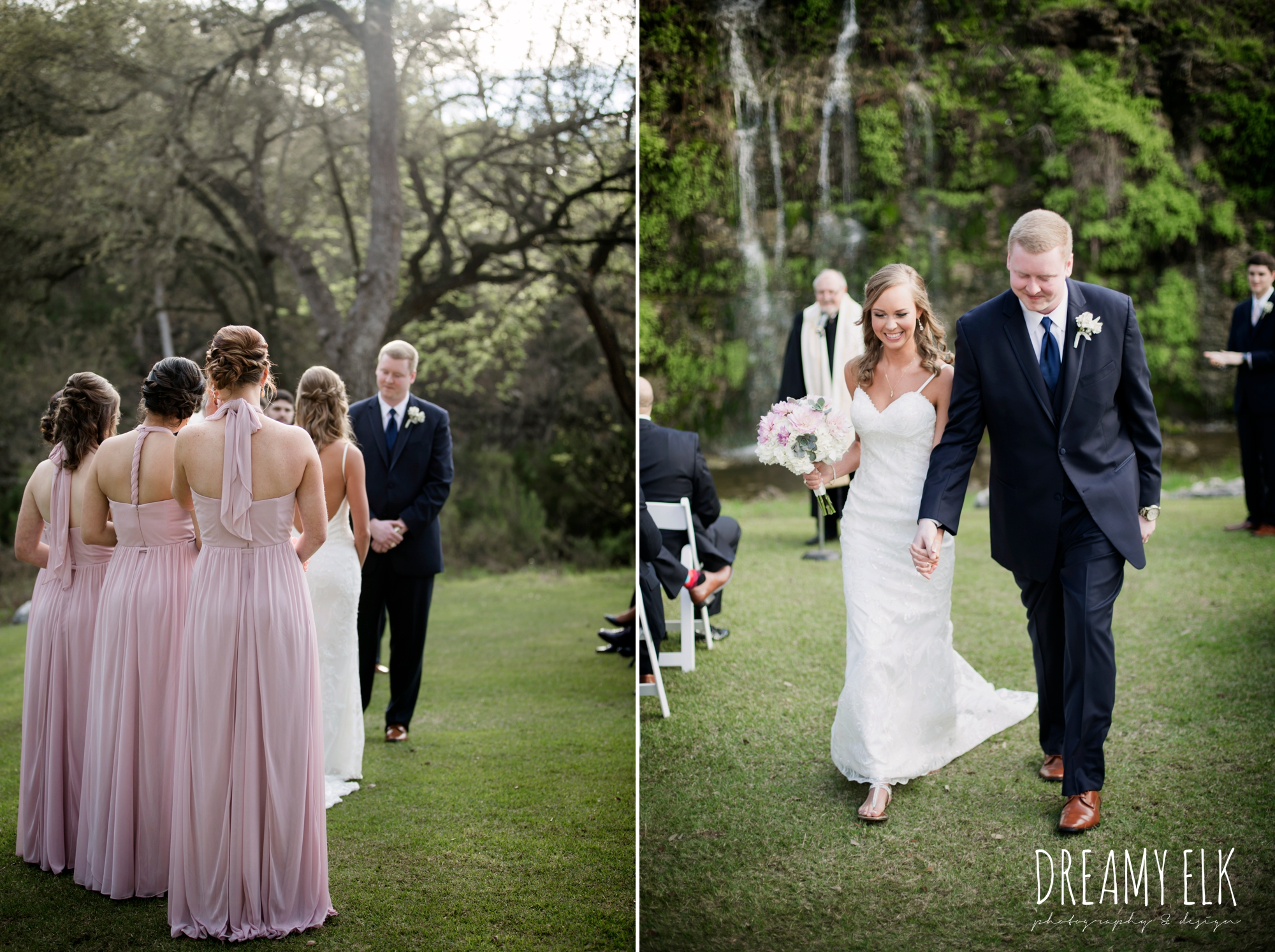 bride and bridesmaids, mix and matched floor length blush bridesmaid dresses, outdoor wedding ceremony, waterfall, bride and groom walking down the aisle, backless column sheath wedding dress, cloudy march wedding photo, canyon springs golf club wedding, san antonio, texas {dreamy elk photography and design}