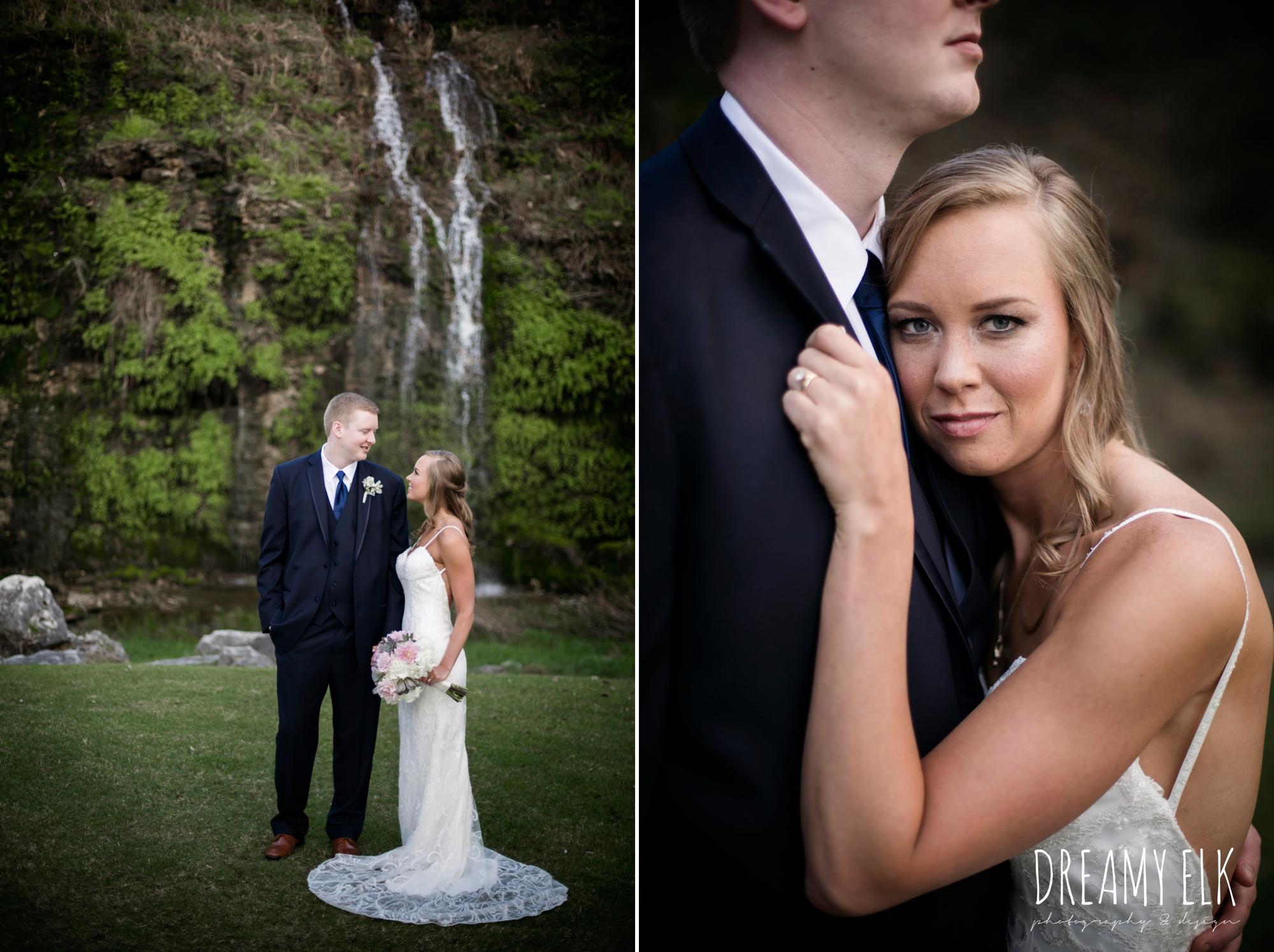 bride and groom, navy suit, backless column sheath wedding dress, cloudy march wedding photo, canyon springs golf club wedding, san antonio, texas {dreamy elk photography and design}