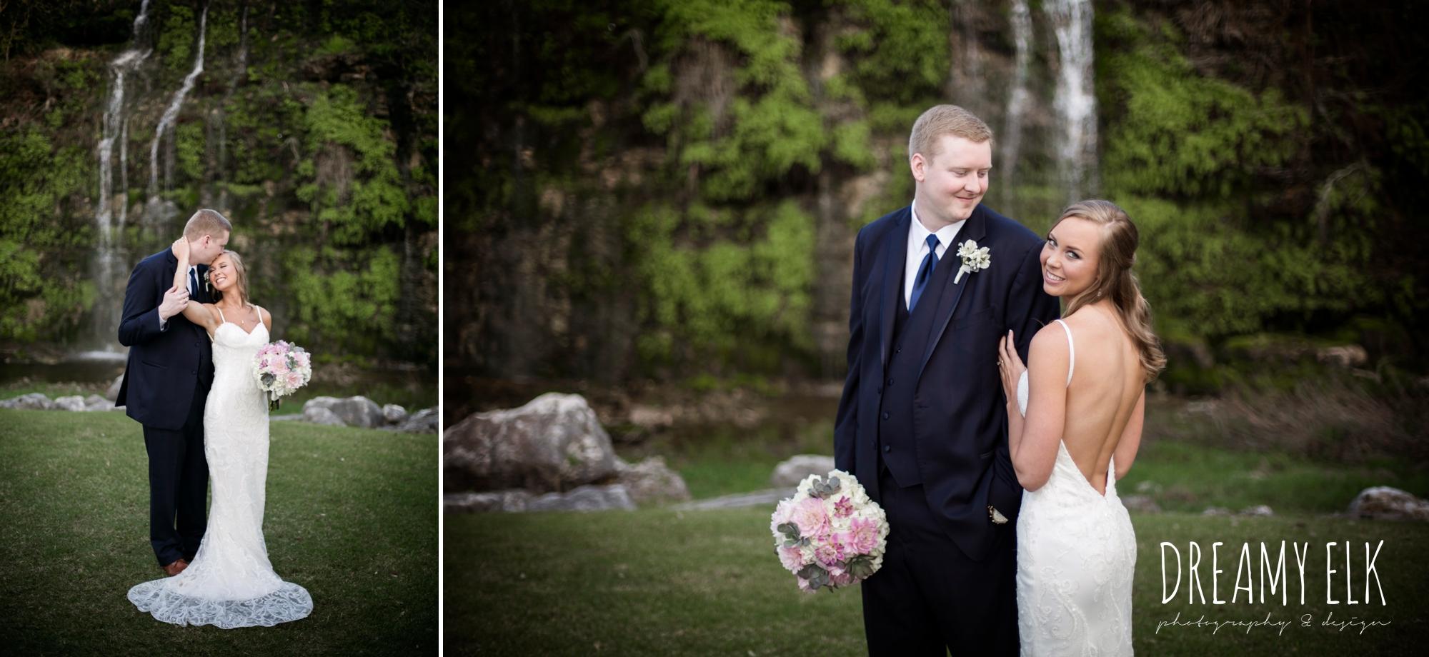 bride and groom, navy suit, backless column sheath wedding dress,
