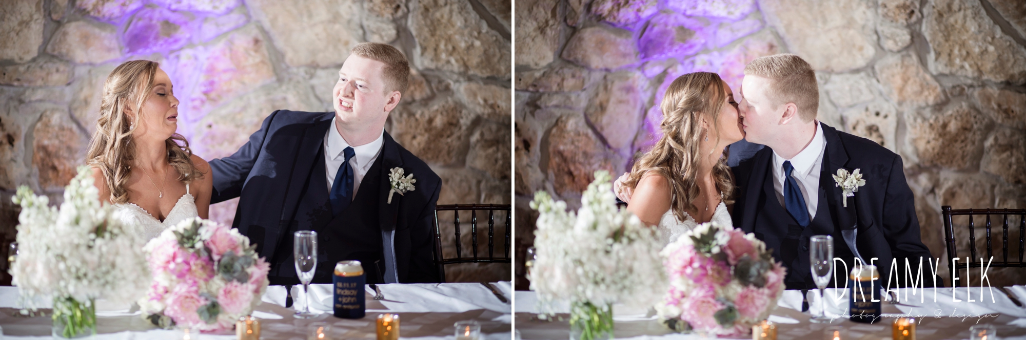 funny bride and groom kissing,
