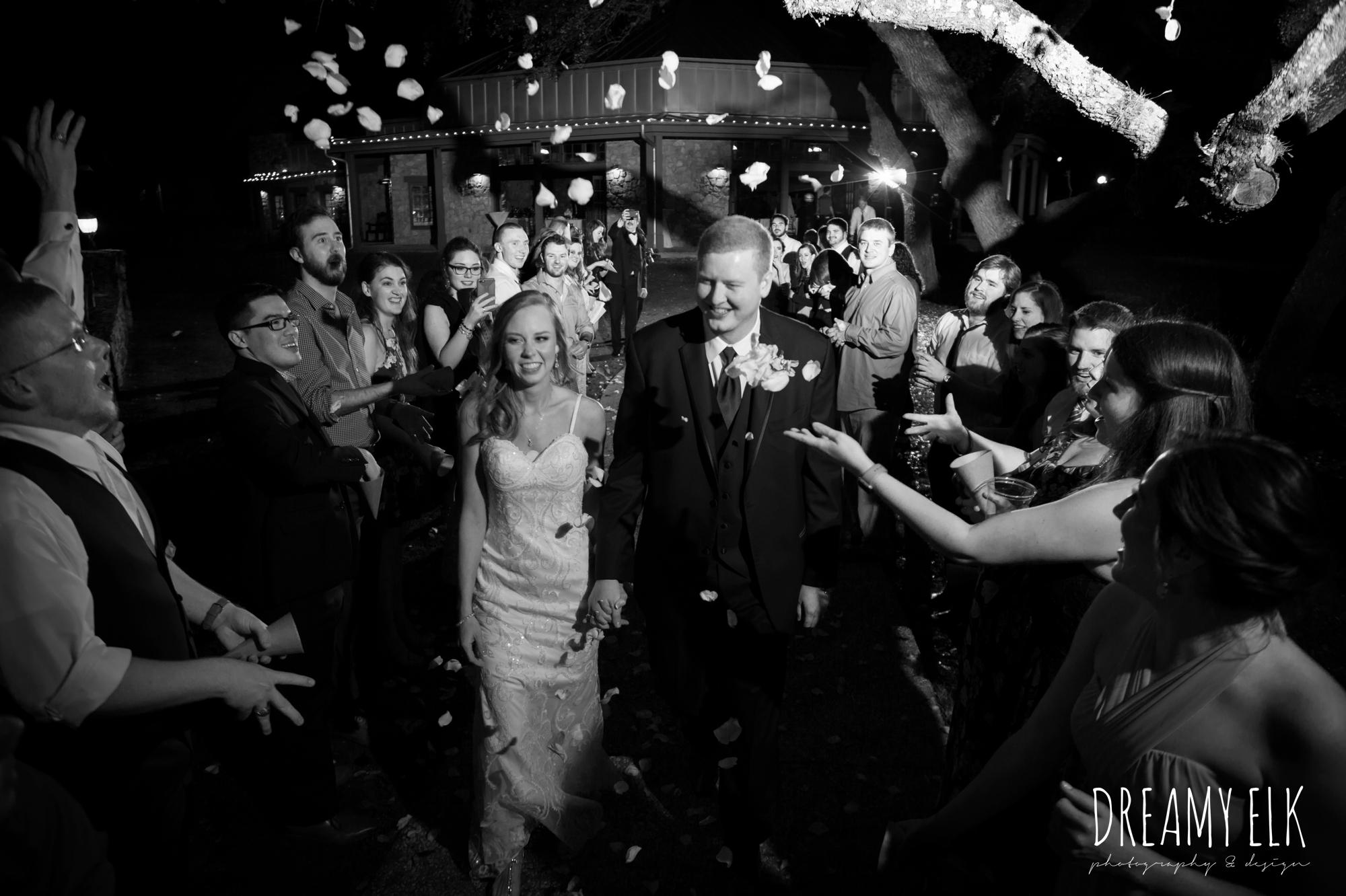 night evening wedding send off with rose petals, cloudy march wedding photo, canyon springs golf club wedding, san antonio, texas {dreamy elk photography and design}