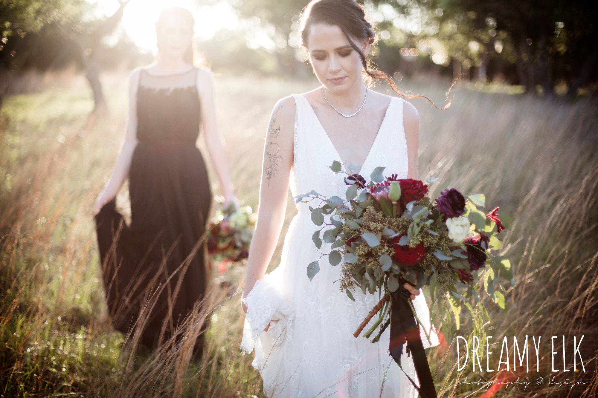 the cedars ranch, libby cole creations, saint isabel bridal, melange bridal, moody rich delicate marfa inspired burgundy maroon black white spring styled wedding photo shoot {dreamy elk photography and design}