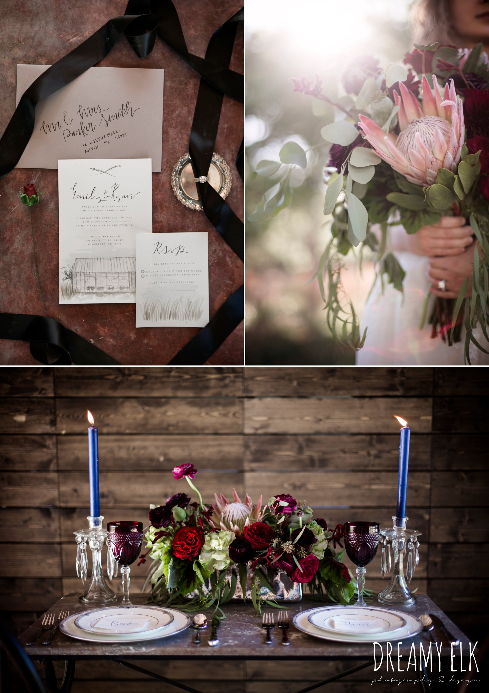 feel good find, marry me in spring, kirk root designs, the cedars ranch, libby cole creations, moody rich delicate marfa inspired burgundy maroon black white spring styled wedding photo shoot {dreamy elk photography and design}