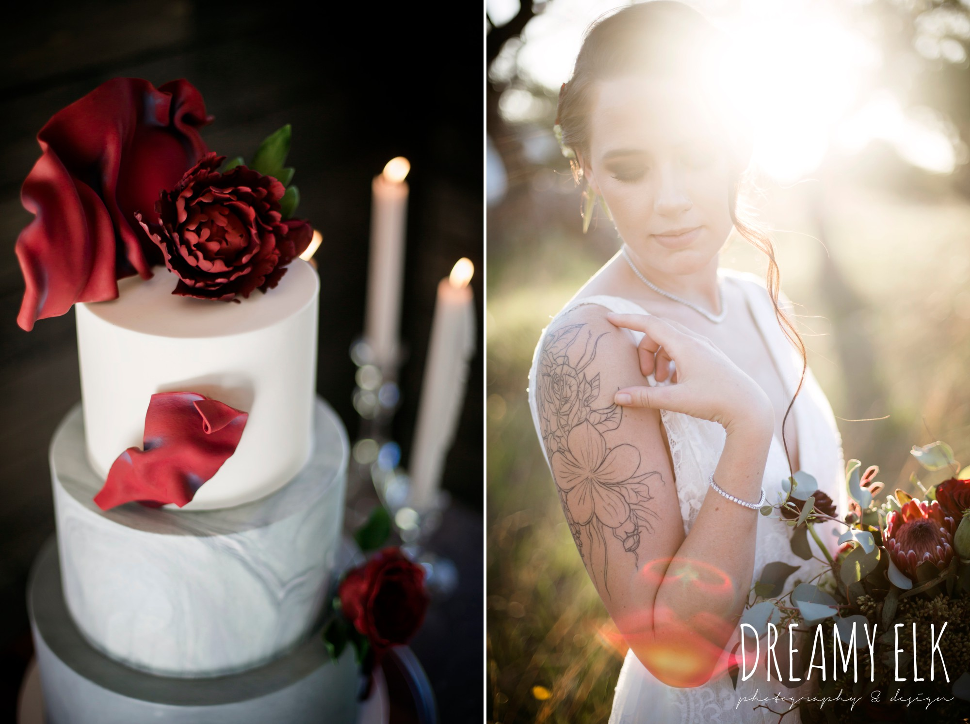 the cedars ranch, libby cole creations, saint isabel bridal, melange bridal, iced cakes and confections, moody rich delicate marfa inspired burgundy maroon black white spring styled wedding photo shoot {dreamy elk photography and design}