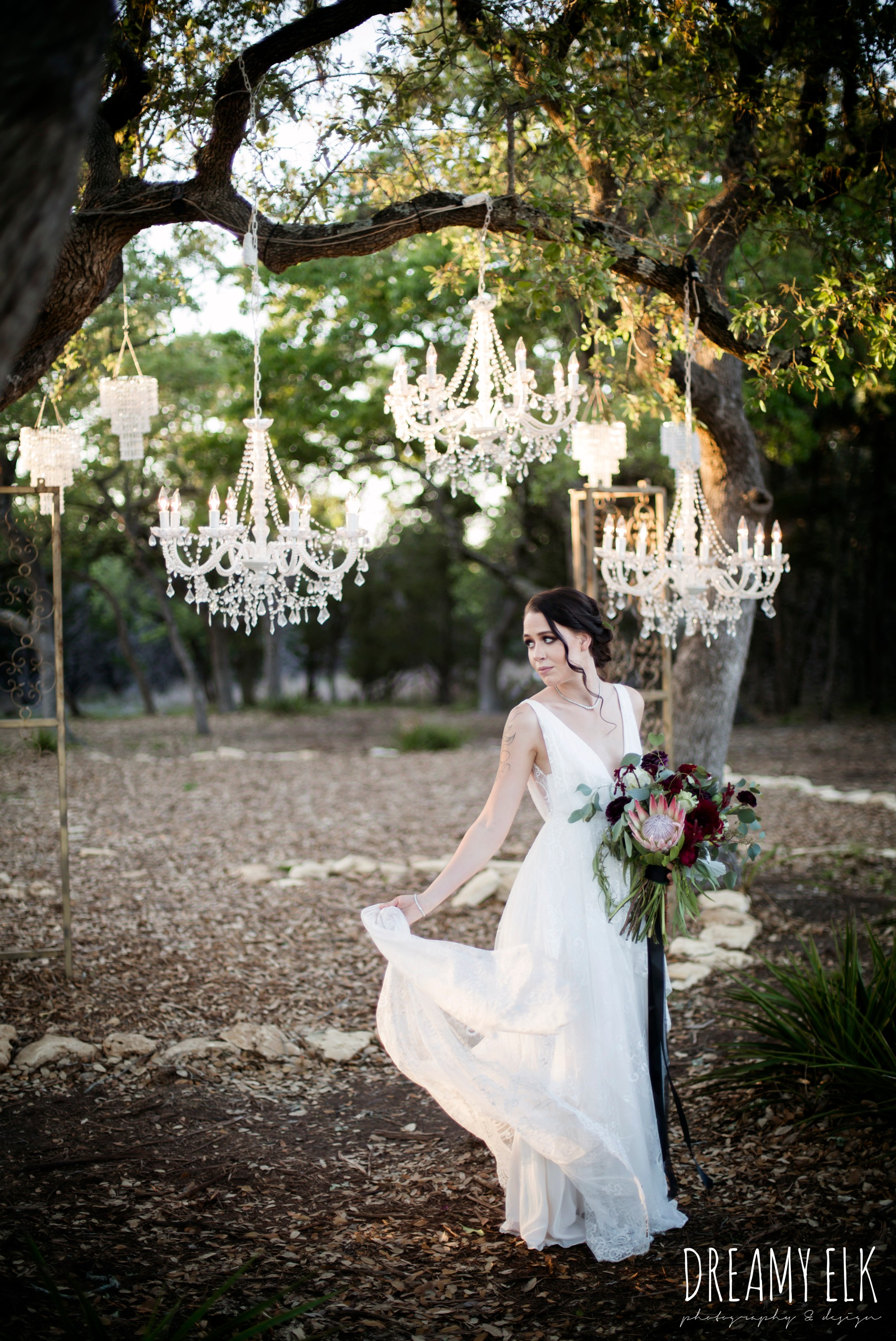 intelligent lighting design, the cedars ranch, libby cole creations, saint isabel bridal, moody rich delicate marfa inspired burgundy maroon black white spring styled wedding photo shoot {dreamy elk photography and design}
