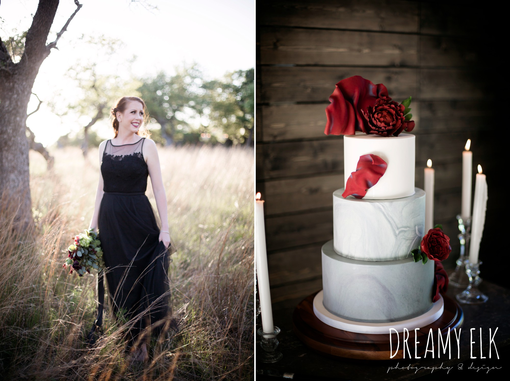 the cedars ranch, libby cole creations, saint isabel bridal, melange bridal, glam gone good, iced cakes and confections, moody rich delicate marfa inspired burgundy maroon black white spring styled wedding photo shoot {dreamy elk photography and design}