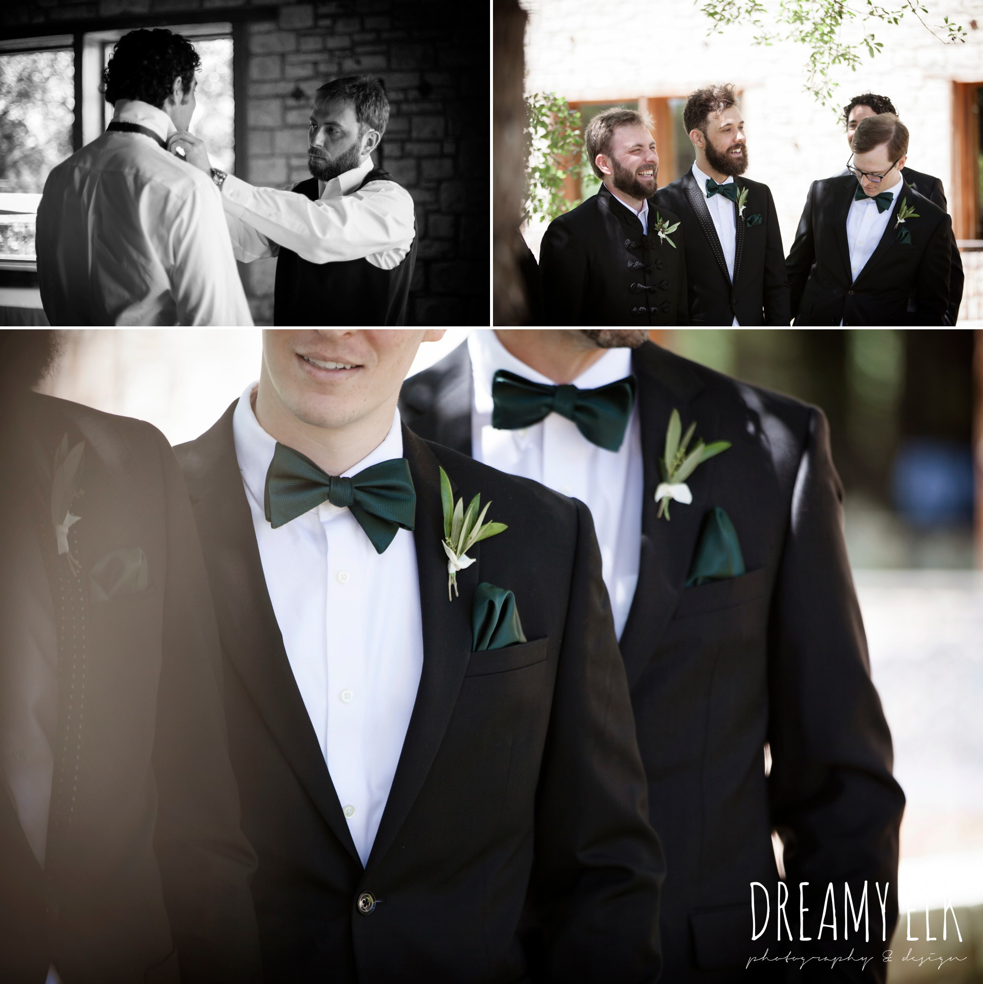 groom and groomsmen, hunter green bowties, outdoor spring april wedding photo, chapel dulcinea ceremony, dripping springs, texas {dreamy elk photography and design}