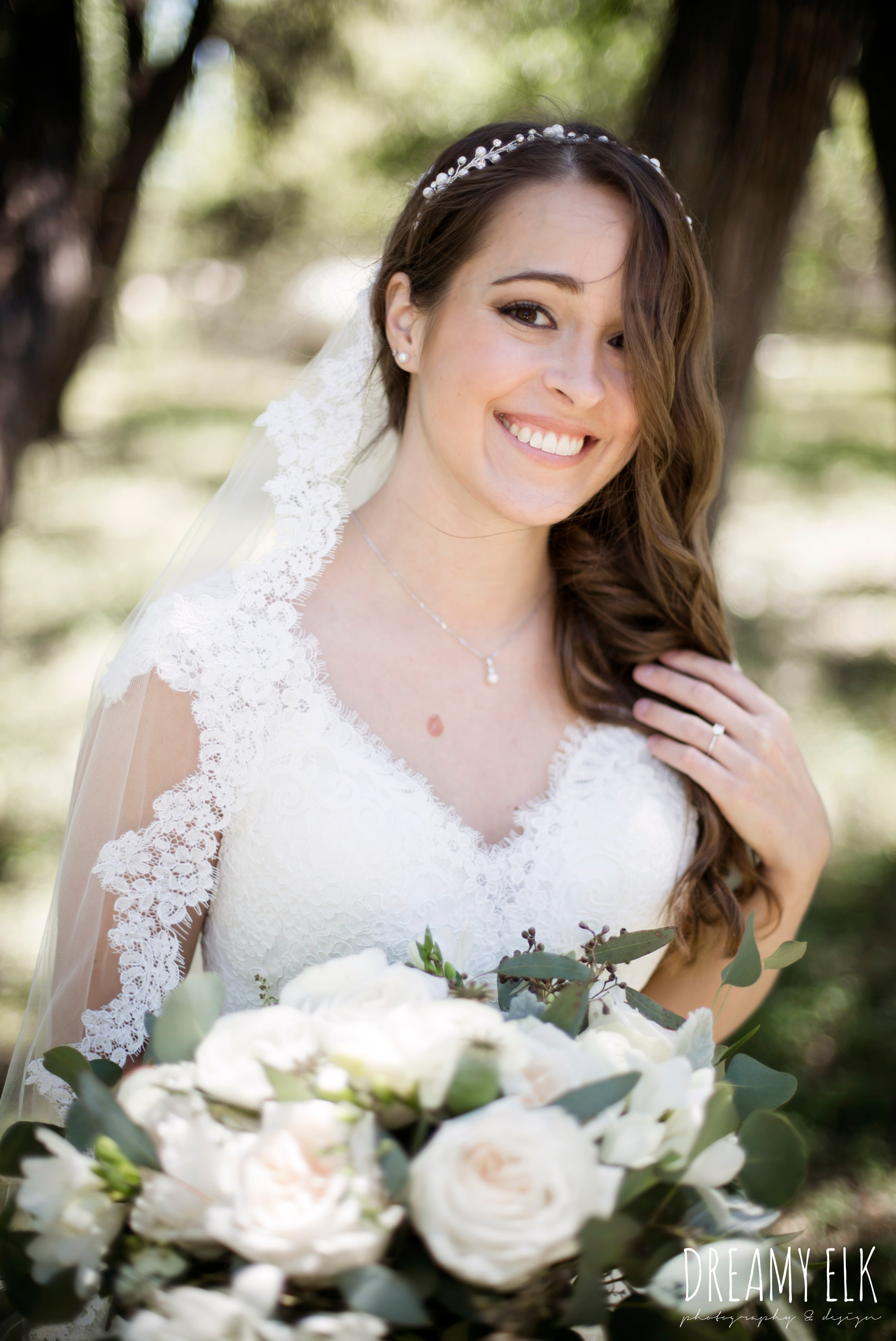 bride, white wedding bouquet, lace trimmed veil, lace wedding dress, outdoor spring april wedding photo, chapel dulcinea ceremony, dripping springs, texas {dreamy elk photography and design}
