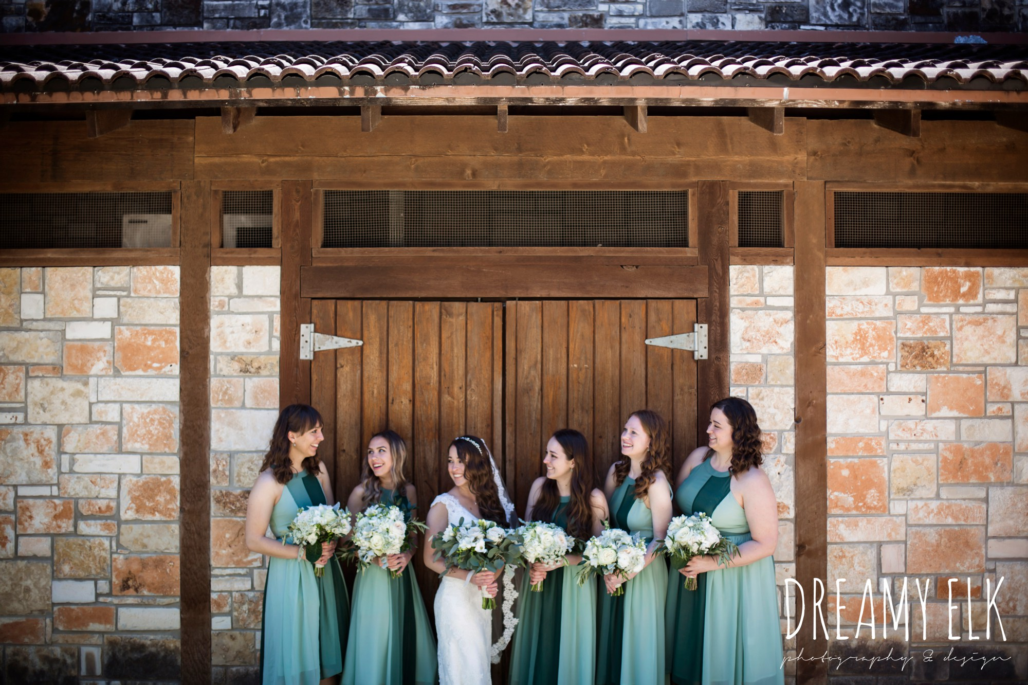 green bridesmaids dresses, mod cloth, lace wedding dress, lace wedding veil, white wedding bouquets, outdoor spring april wedding photo, chapel dulcinea ceremony, dripping springs, texas {dreamy elk photography and design}