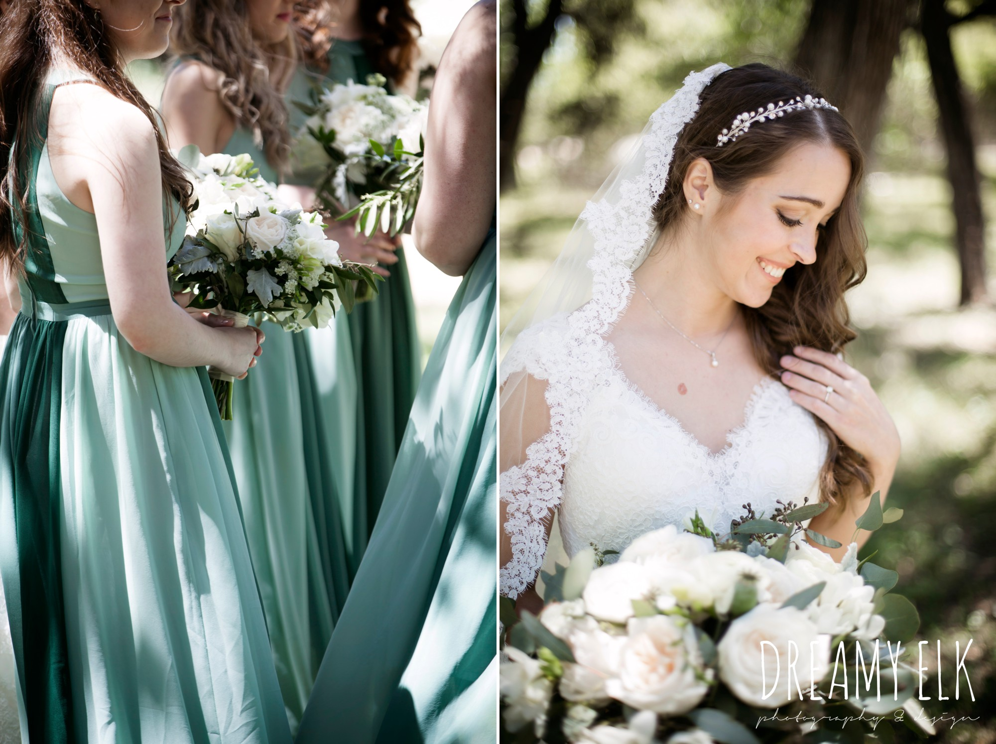 green bridesmaids dresses, mod cloth, lace wedding dress, lace wedding veil, white wedding bouquets,