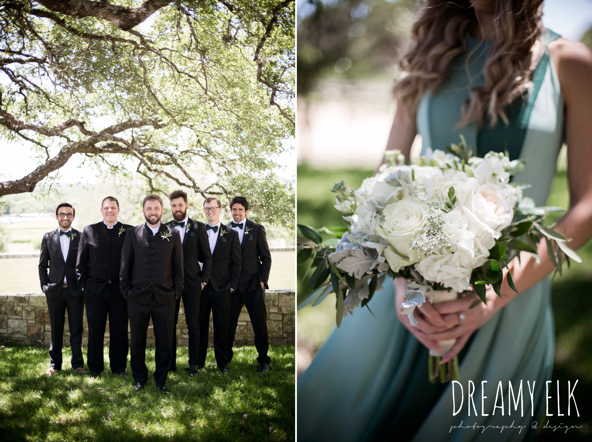 groom, traditional hungarian tux, groomsmen, hunter green bowties, green bridesmaids dresses, mod cloth, white wedding bouquets, outdoor spring april wedding photo, chapel dulcinea ceremony, thurman's mansion, dripping springs, texas {dreamy elk photography and design}