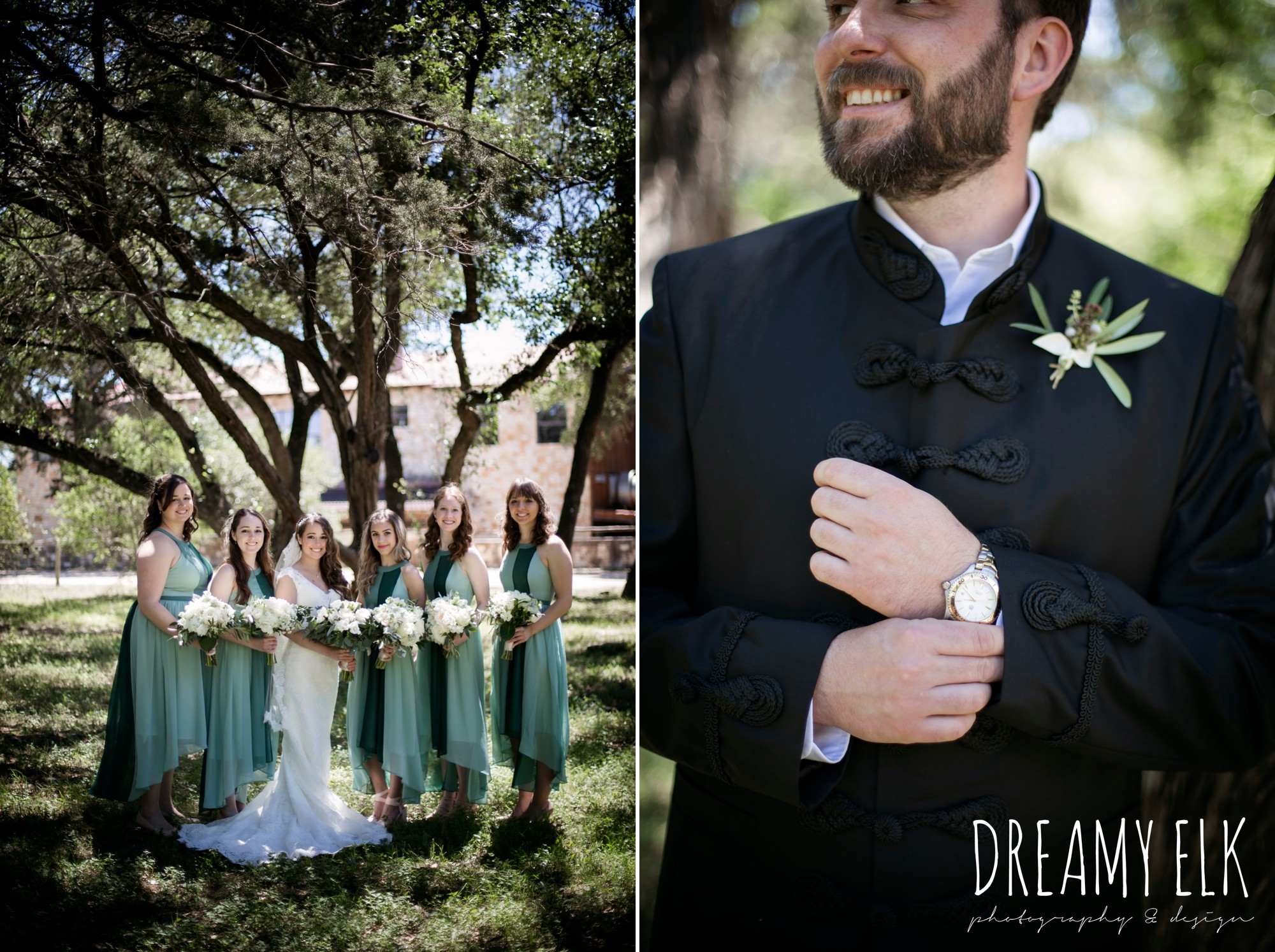 groom, traditional hungarian tux, green bridesmaids dresses, mod cloth, lace wedding dress, lace wedding veil, white wedding bouquets, outdoor spring april wedding photo, chapel dulcinea ceremony, thurman's mansion, dripping springs, texas {dreamy elk photography and design}