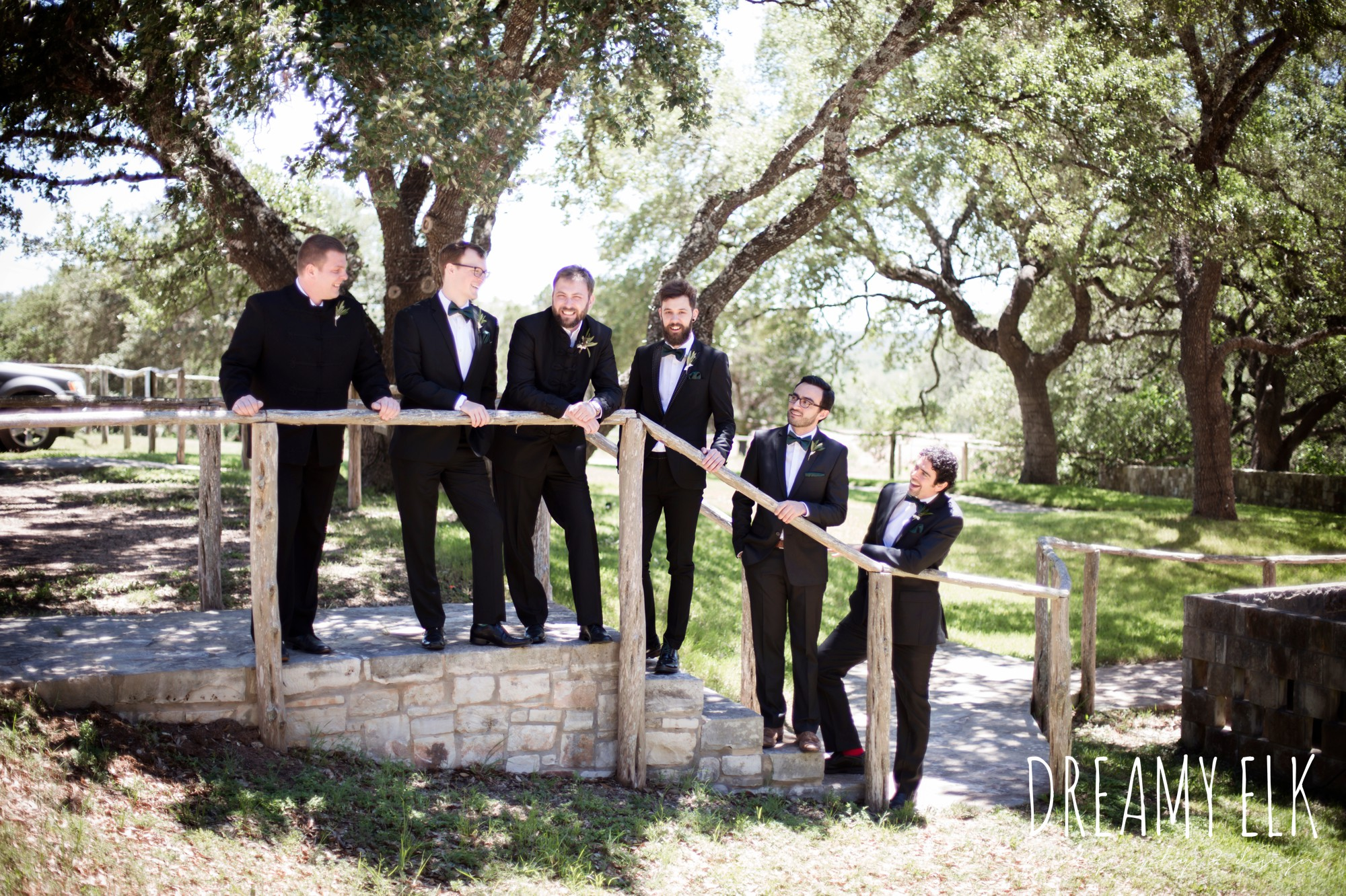 groom, traditional hungarian tux, groomsmen, hunter green bowties, outdoor spring april wedding photo, chapel dulcinea ceremony, thurman's mansion, dripping springs, texas {dreamy elk photography and design}