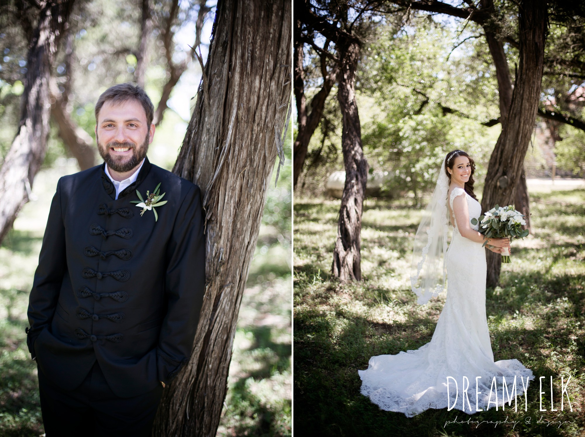 groom, traditional hungarian tux, bride, lace wedding dress, lace wedding veil, white wedding bouquet, outdoor spring april wedding photo, chapel dulcinea ceremony, thurman's mansion, dripping springs, texas {dreamy elk photography and design}